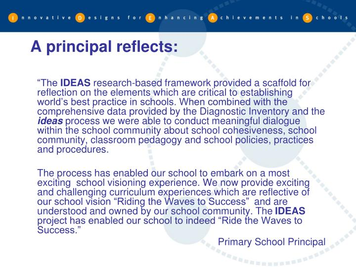 A principal reflects: