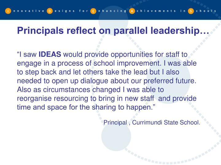 Principals reflect on parallel leadership…