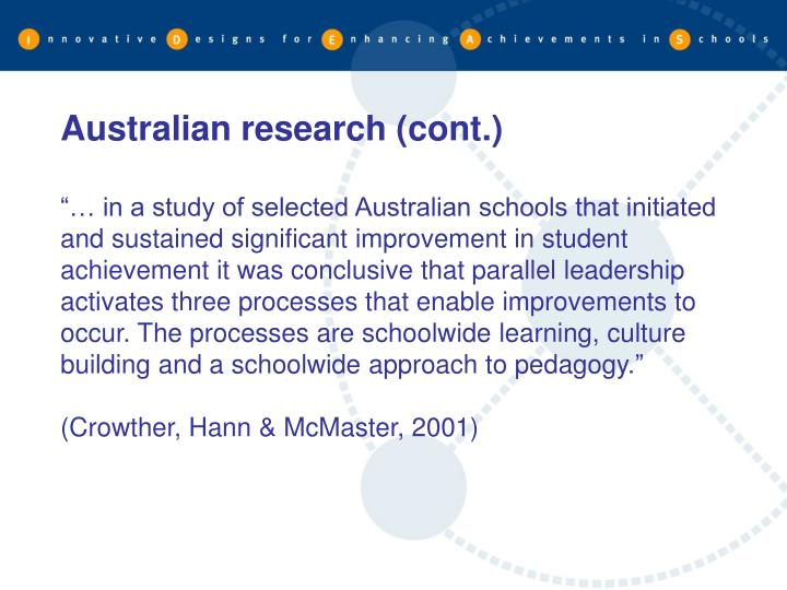 Australian research (cont.)