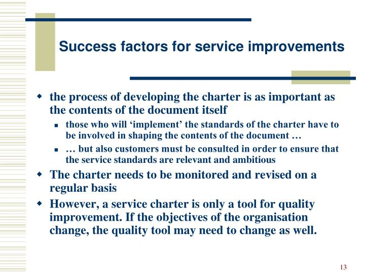 Success factors for service improvements