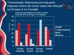 transmiss o heterossexual enquanto impulsor chave de novos casos de infec o na europa e no canad