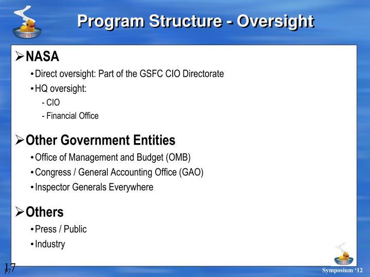 Program Structure - Oversight