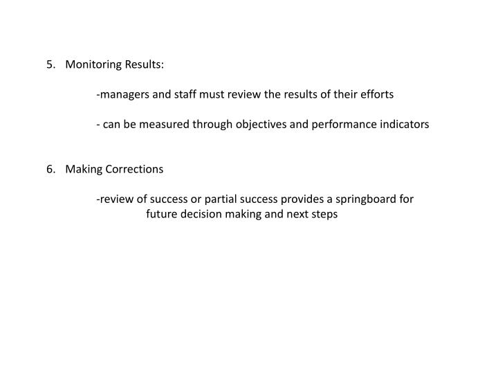 Monitoring Results: