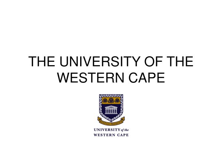 The university of the western cape