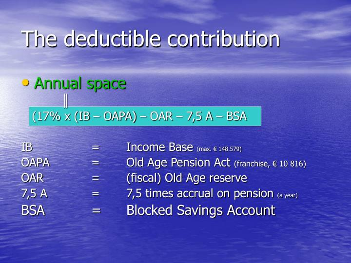 The deductible contribution