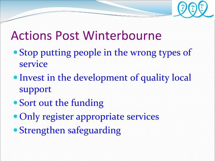 Actions Post Winterbourne