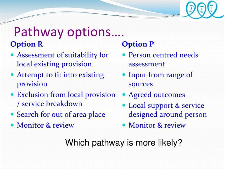 Pathway options….
