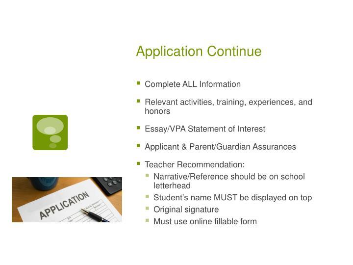 Application Continue