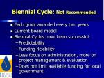 biennial cycle not recommended