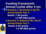 funding framework annual cycles after 4 yrs