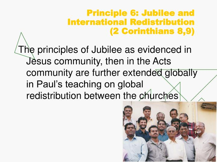 Principle 6: Jubilee and International Redistribution