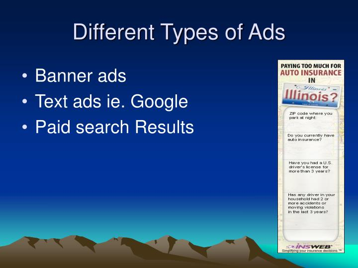 Different types of ads