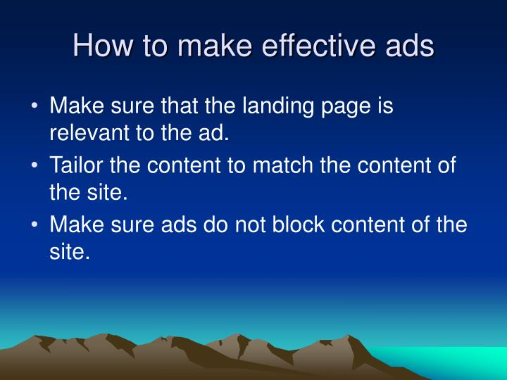 How to make effective ads