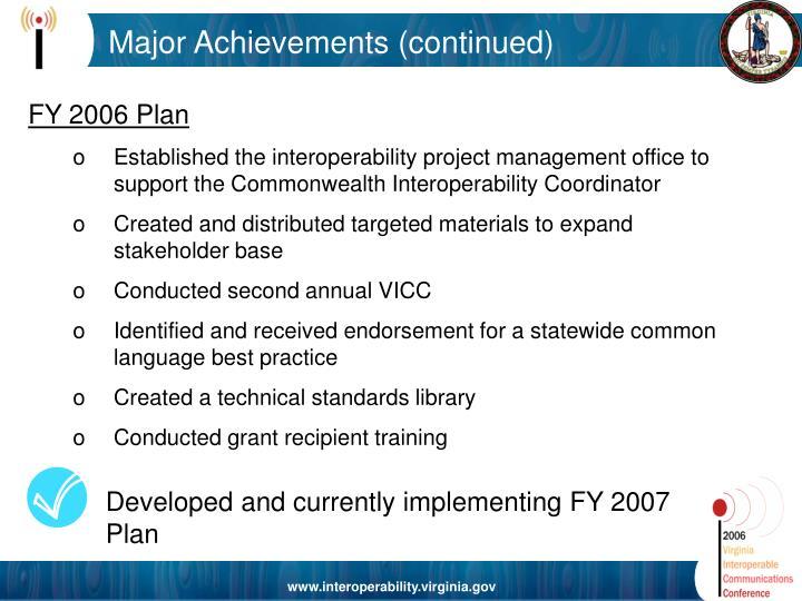 Major Achievements (continued)