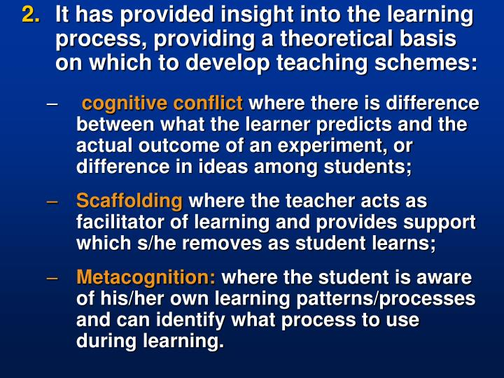 It has provided insight into the learning process, providing a theoretical basis on which to develop teaching schemes: