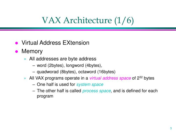 Vax architecture 1 6