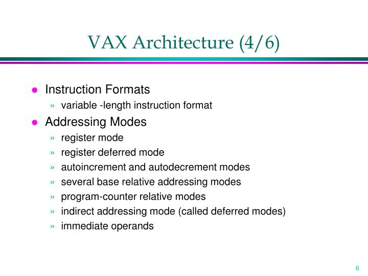 VAX Architecture (4/6)