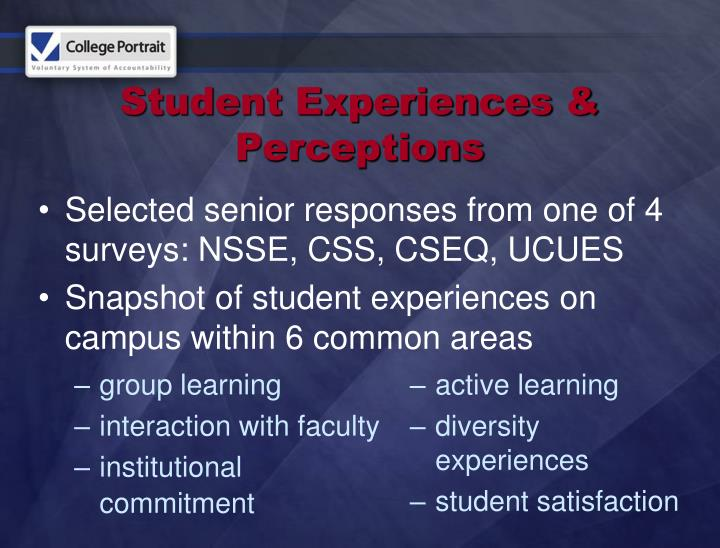 Student Experiences & Perceptions