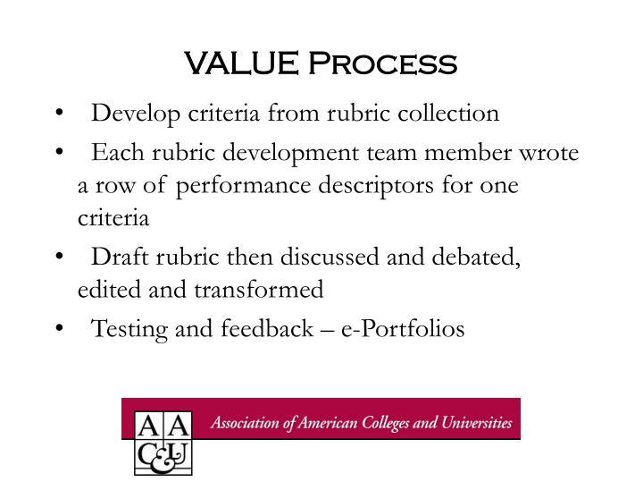 VALUE Process