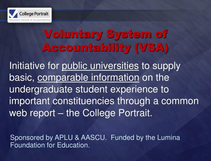 Voluntary system of accountability vsa