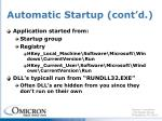 automatic startup cont d