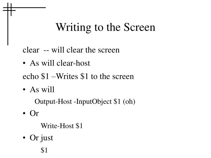 Writing to the Screen