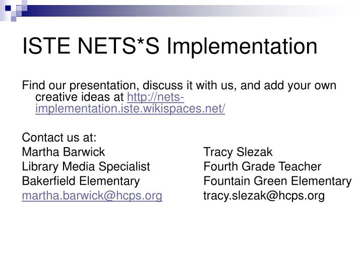 ISTE NETS*S Implementation