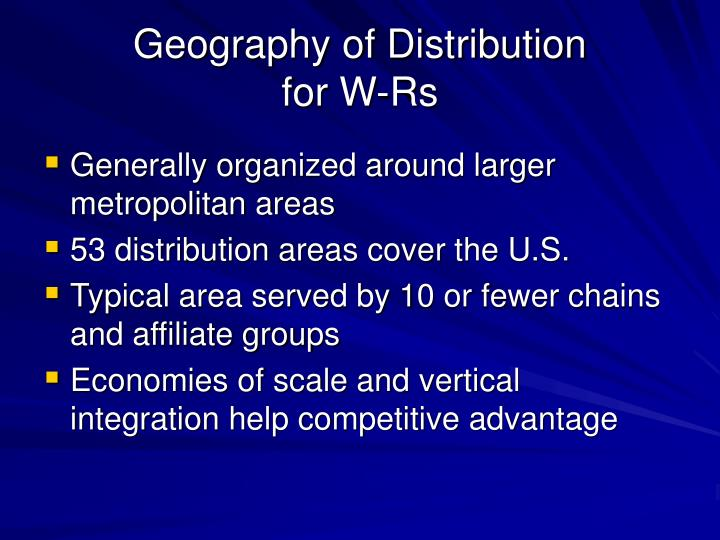 Geography of distribution for w rs