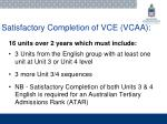 satisfactory completion of vce vcaa