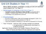 unit 3 4 studies in year 11