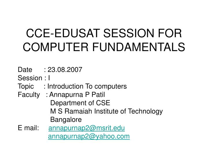 cce edusat session for computer fundamentals n.