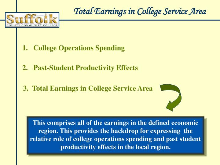 Total Earnings in College Service Area