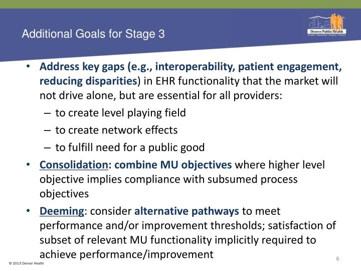 Additional Goals for Stage 3