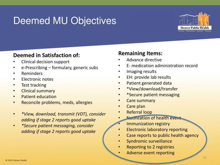 Deemed MU Objectives