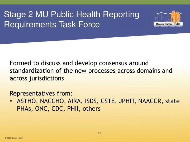 Stage 2 MU Public Health Reporting  Requirements Task Force