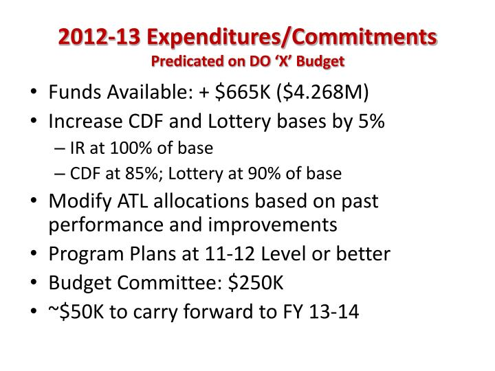 2012-13 Expenditures/Commitments