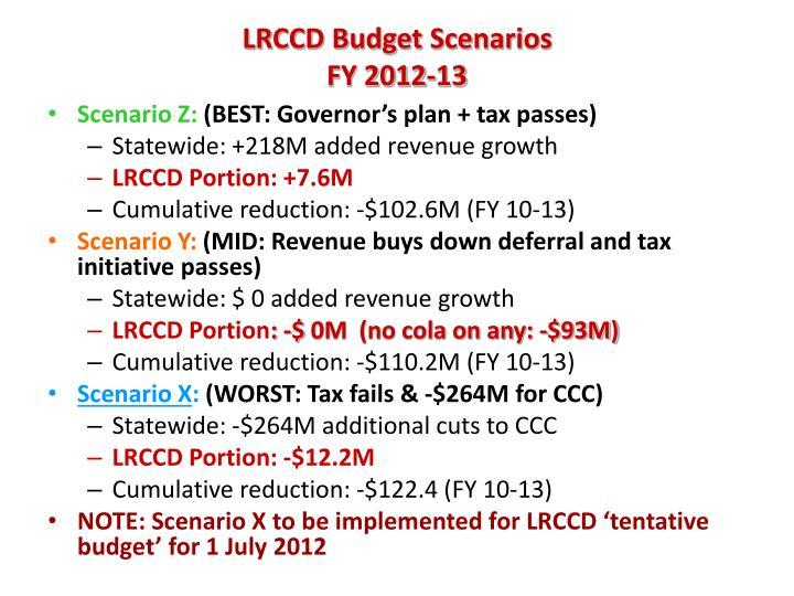 Lrccd budget scenarios fy 2012 13