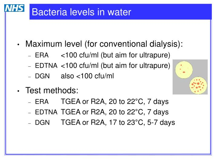 Bacteria levels in water