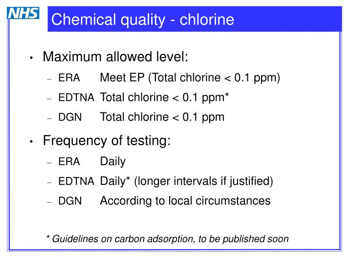 Chemical quality - chlorine