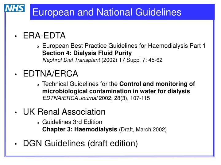 European and national guidelines