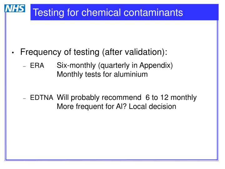 Testing for chemical contaminants