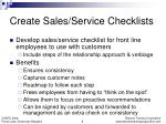 create sales service checklists