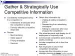 gather strategically use competitive information