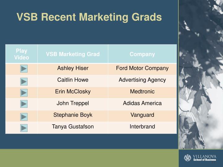 VSB Recent Marketing Grads
