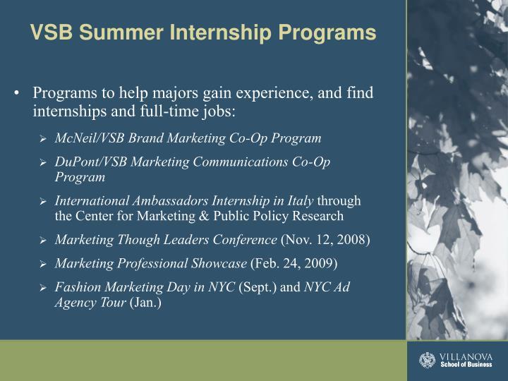 VSB Summer Internship Programs