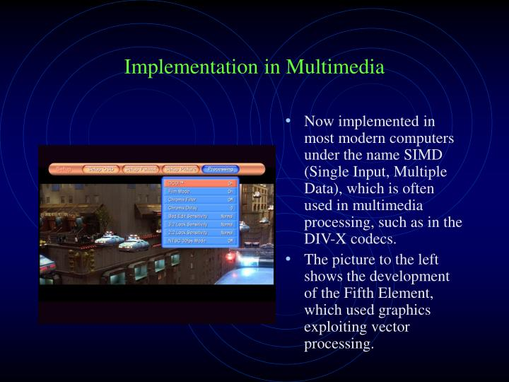 Now implemented in most modern computers under the name SIMD (Single Input, Multiple Data), which is often used in multimedia processing, such as in the DIV-X codecs.