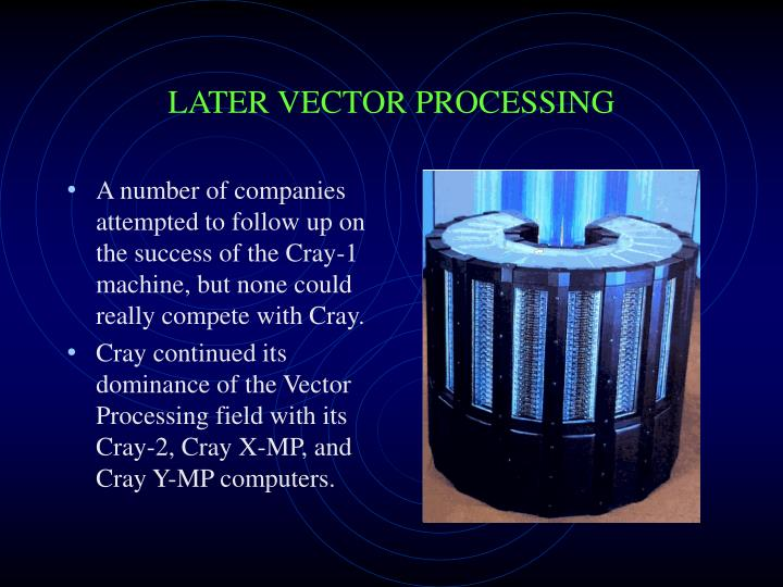 A number of companies attempted to follow up on the success of the Cray-1 machine, but none could really compete with Cray.