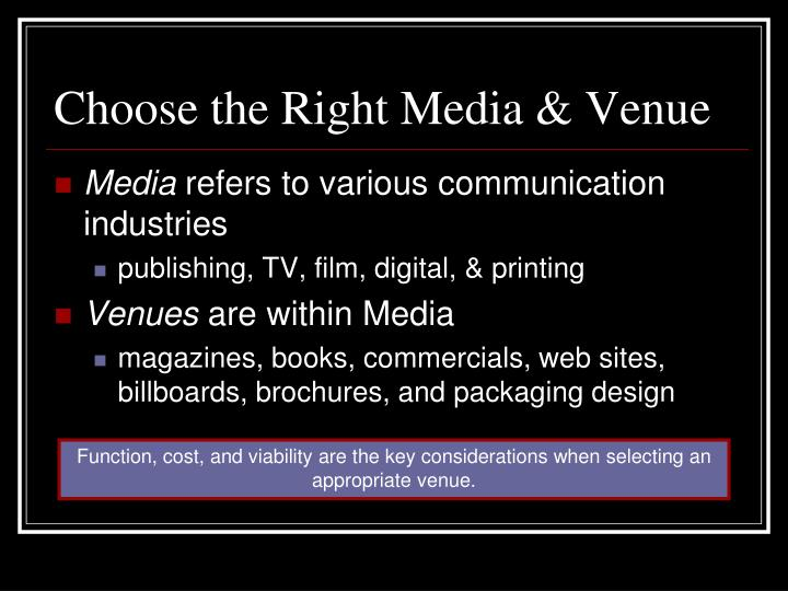 Choose the Right Media & Venue