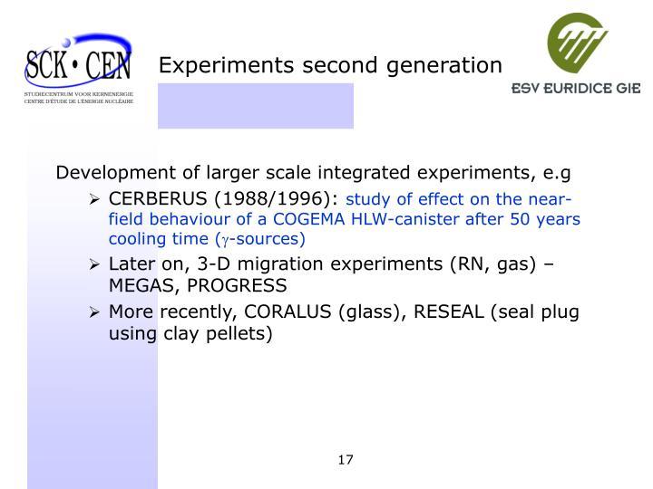 Experiments second generation