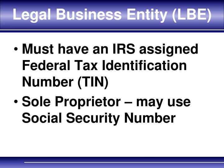 Legal Business Entity (LBE)